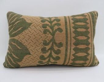 16x24 Kelim Kissen Pillow Cover Floral Pillow 16x24 Kilim Pillow Green and Yellow Pillow Turkish Decorative Pillow Sofa Pillow SP4060-1402
