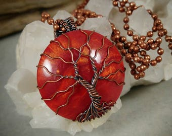 Tree of Life , Aged Copper Tree , Oxidized Copper Tree , Wire Tree of Life , Copper Tree of Life , Metallic Cabochon , Sunset Pendant