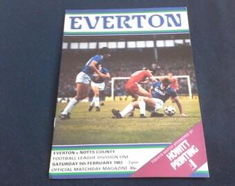Everton v Notts County Saturday 5th February 1983 football Programme