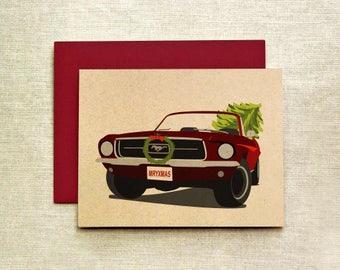 Classic Mustang Christmas Card (Individual & Card Set), Mustang Card, Christmas Card, Holiday Card