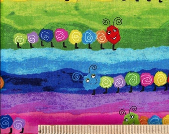 RAINBOW CATERPILLAR Fabric - Kids - Children - Baby - Babies - Insect - Bugs - Novelty - 100% Cotton, Quilt Shop Quality
