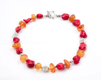 Artisan amber and coral rhymed necklace 40 cm