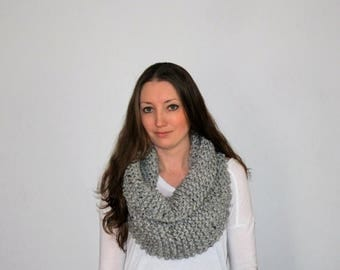 50% OFF SALE Knit Chunky Scarf, Knit Cowl Scarf, Knitted Infinity Scarf, Grey Knit Infinity Scarf - Urbandale Scarf Grey Marble