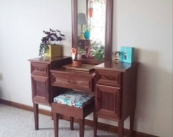 "Sea Queen II ""Solid Walnut Version"" Makeup Vanity Table"