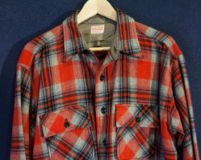 "Vintage ""Allied Clothiers"" Sportswear 100% Wool Overshirt Work Wear Size Large Workshirt"