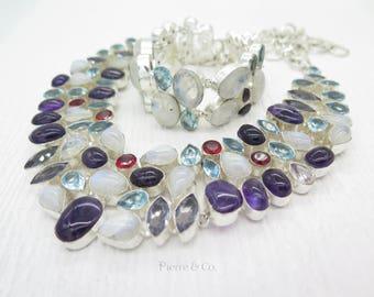 Moonstone Amethyst Blue Topaz Necklace and Bracelet Set
