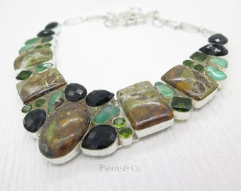Rainforest Jasper Smoky Topaz Agate Peridot Sterling Silver Necklace