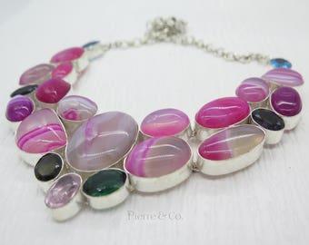Pink Lace Agate Amethyst Smoky Topaz Blue Topaz Sterling Silver Necklace
