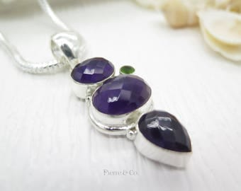 Faceted Amethyst and Peridot Sterling Silver Pendant and Chain
