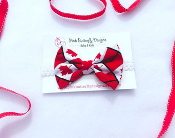 Tanya Bow - Canada Bow ~ Fabric bow ~ Lace Head band ~  Pigtail Bows ~ Baby Headband ~ Adult Headband ~Red and white bow - maple leaf bow