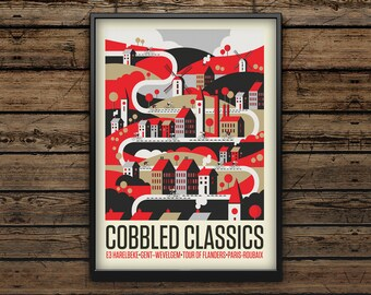 Cycling Art Print A3 / Cobbled Classic