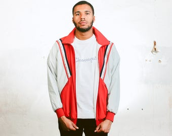 Retro 90s Shell Jacket . Vintage Mens Wind Jacket 90s Spring Jacket Windbreaker Red Sports Jacket Outerwear 1990s Activewear . size Medium M