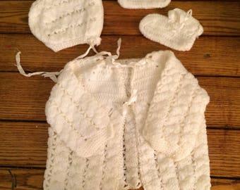 Vintage Handmade Baby Sweater Set