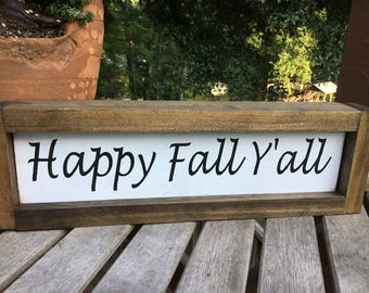 Happy Fall Y'all,Seasonal decor,shiplap sign,gallery wall sign,subway art,farmhouse wood sign,wood sign saying,autumn sign,fun fall decor