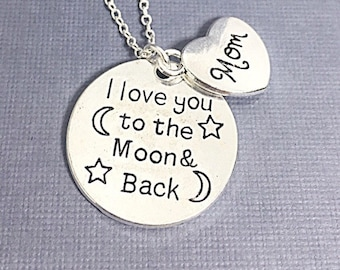 I Love You To The Moon Necklace Gift, Mother Heart Necklace, Mom Necklace Gift, Mom Birthday Gift, Engraved Mom Jewelry, Silver Mother Gift