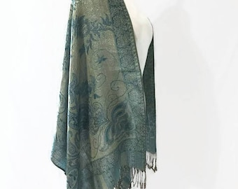 Vintage Cashmere Shaws, Wraps, Scarf, and Head Cover Reversible Different Ways to Wear it Paisley Designs with Gold Threads