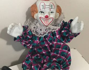 Vintage Clown with porcelain face, feet  and hands Clown for collectors or gift