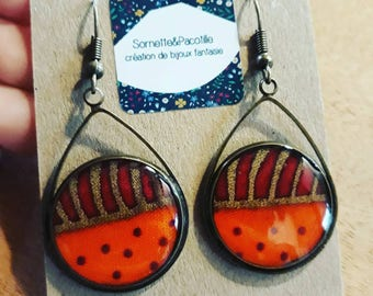 Asymmetrical earrings drops orange and gold/fabric wax and resin/handmade / shapes available