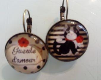 Earrings sleepers dog and black polka dots