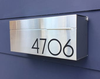 Wide Modern and contemporary mailbox - stainless steel design, Modern Mailbox, Wall Mounted mailbox - contemporary #177S