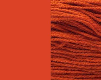 Wool yarn, cognac/dark orange | bulky 2-ply worsted quick-knit yarn 100g/130m