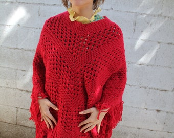 1970s red knit poncho