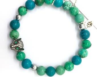 Black Panther Karma Head Bracelet with Mixed Turquoise Beads,  Pave CZ, Emerald Green Eyes, Healing Gift Boho Black Gunmetal Big Cat Jewelry