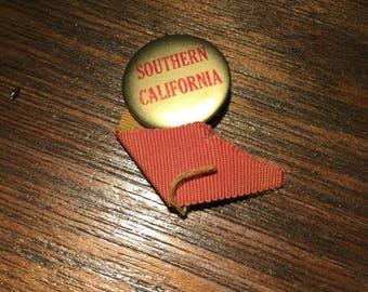 "Vintage USC Southern California football button pinback  1 1/4"""