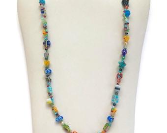 Millefiori Glass Colourful Necklace, Colourful Necklace, Millefiori Jewellery,