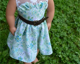 Fits American Girl Doll Dress - Floral Summer Dress with Belt