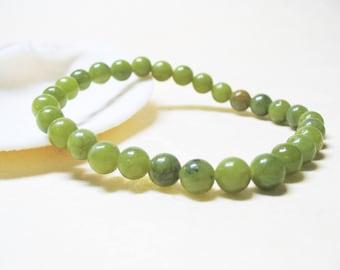 Olivine Bracelet Gemstone Bracelet Fertility Bracelet Mala Bracelet Healing Bracelet Heart Chakra Bracelet 6mm Olivine Peridot Beads
