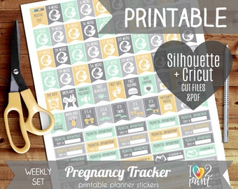 Pregnancy Tracker Printable Planner Stickers, Erin Condren, HP Planner Stickers, Pregnancy Tracker Stickers, Pregnancy Tracker, Cut Files
