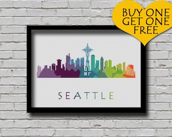 Cross Stitch Pattern Seattle Washington Silhouette Watercolor Painting Effect Decor Embroidery Modern Ornament City Skyline Xstitch