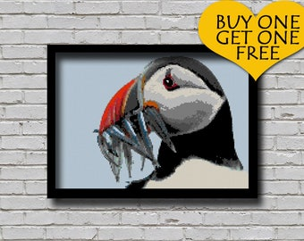 Cross Stitch Pattern Atlantic Puffin with Fishes Alcid Bird Animal Pattern Modern Home Decor Puffin Mouthful E Pattern Pelagic Seabirds