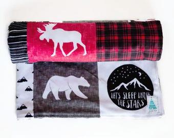 Woodland Baby Blanket - Plaid Baby Bedding - Baby Shower gifts boy - Baby Blankets Boy - New Baby Gift - Plaid Nursery