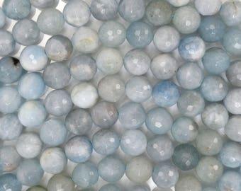 "8mm faceted blue aquamarine round beads 15.5"" strand 38527"