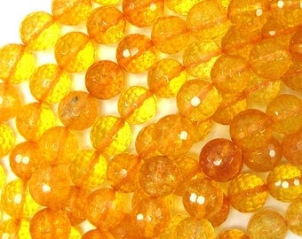 """10mm faceted citrine round beads 15"""" strand 32209"""