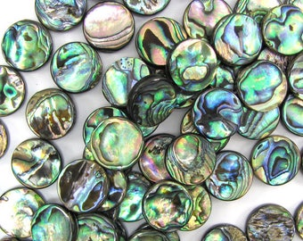 """18mm abalone shell coin beads 16"""" strand 33056"""