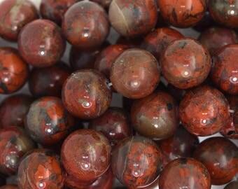 """12mm poppy jasper round beads 16"""" strand 35799"""