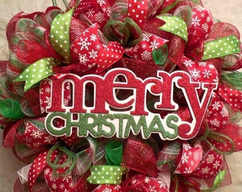 XMAS in JULY SALE-15%off Merry Christmas Wreath,Christmas wreaths, Christmas decor, red and green christmas, mesh christmas wreath, wreath,