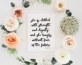 Proverbs 31:25 | She is clothed with strength and dignity, and she laughs without fear of the future | Christian Card | Gifts For Her
