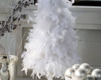 """32""""   White """"American"""" Feather Tree"""