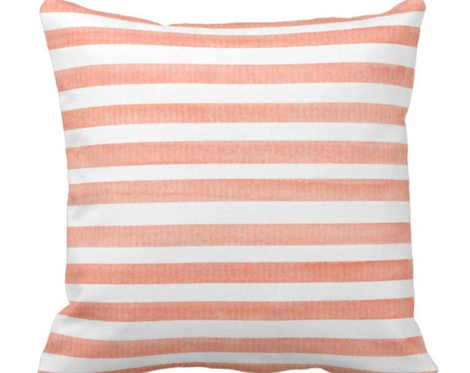 Beach Striped Decorative Throw Pillow Watercolor Coral