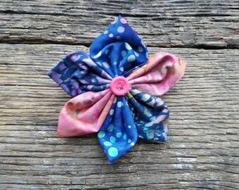 Blue and pink, flower, dog collar flower accessory medium