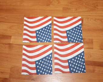 Paper napkins for decoupage;July 4th flag napkins;Decorative napkins;Set of 4 napkins;Decoupage napkins;Decoupage supplies