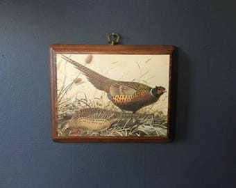 Vintage 70's Pheasants Wooden Wall Art Decor