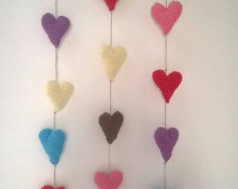 Garland hearts hand made crochet cotton and Driftwood