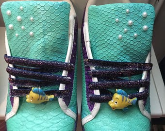 One of a kind ariel little mermaid inspired trainers uk 7 usa 9 ready to ship