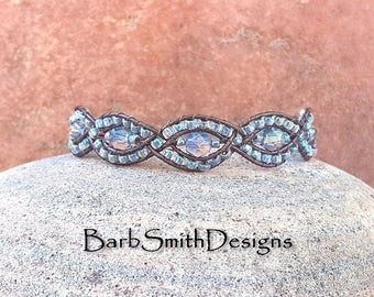 Blue Crystal Copper Leather One Wrap Cuff Bracelet - The Mystic Sister in Montana Blue - Custom Size It!
