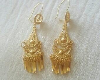Earrings filigree Golden Oaxaca, Mexico